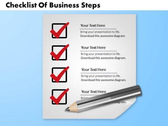 Business Diagram Checklist Of Business Steps Presentation Template
