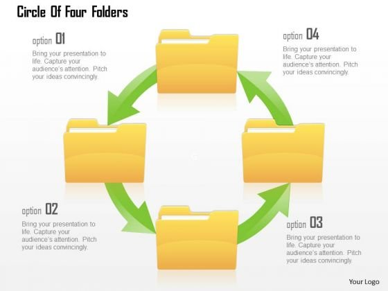 Business Diagram Circle Of Four Folders Presentation Template