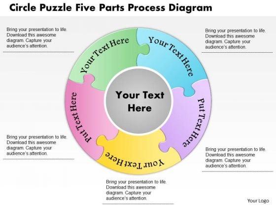 Business Diagram Circle Puzzle Five Parts Process Diagram Presentation Template