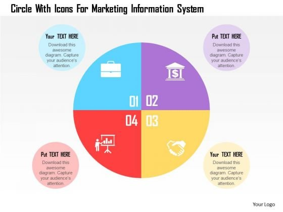 Business Diagram Circle With Icons For Marketing Information System Presentation Template
