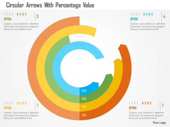 Business Diagram Circular Arrows With Percentage Value Presentation Template
