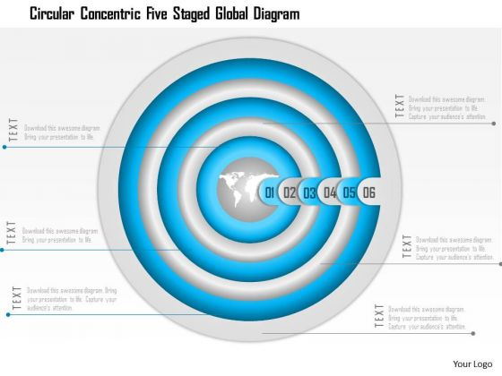 Business Diagram Circular Concentric Five Staged Global Diagram Presentation Template