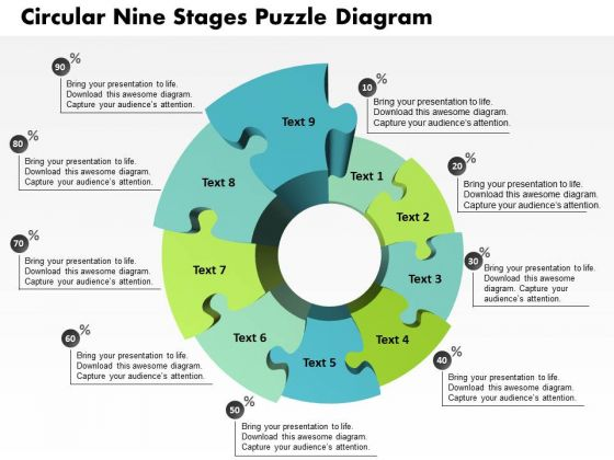 Business Diagram Circular Nine Stages Puzzle Diagram Presentation Template