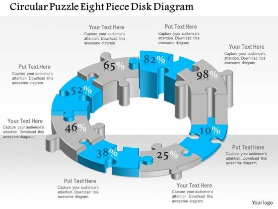 Business Diagram Circular Puzzle Eight Piece Disk Diagram Presentation Template