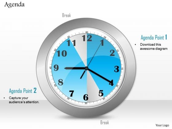 Business Diagram Clock Graphic To Show Points Of Agenda Presentation Template