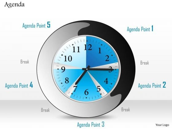 Business Diagram Clock To Show Five Different Agendas With Breaks Presentation Template