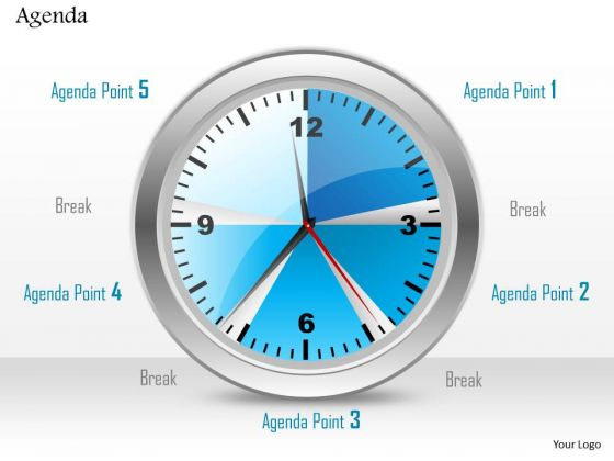 Business Diagram Clock With Five Different Agenda Points Presentation Template