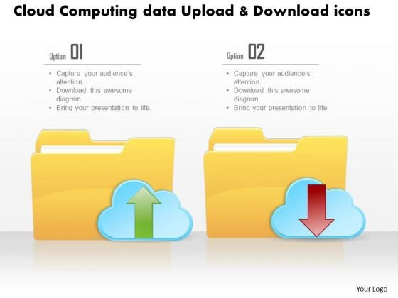 Business Diagram Cloud Computing Data Upload And Download Icons Ppt Slide