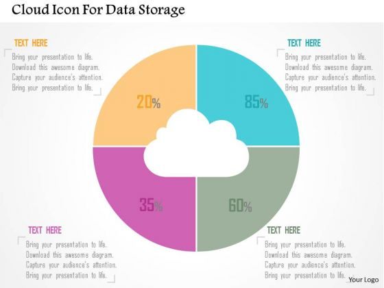 Business Diagram Cloud Icon For Data Storage Presentation Template