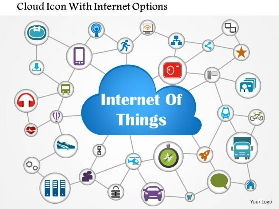 Business Diagram Cloud Icon With Internet Options Presentation Template