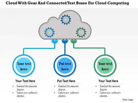 Business Diagram Cloud With Gear And Connected Text Boxes For Cloud Computing Presentation Template