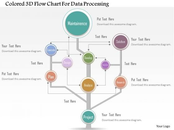 Business Diagram Colored 3d Flow Chart For Data Processing Presentation Template