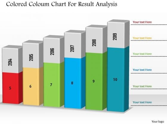 Business Diagram Colored Column Chart For Result Analysis PowerPoint Slide