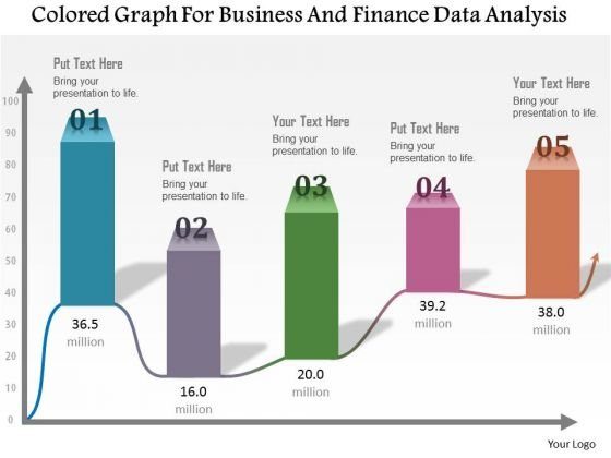 Business Diagram Colored Graph For Business And Finance Data