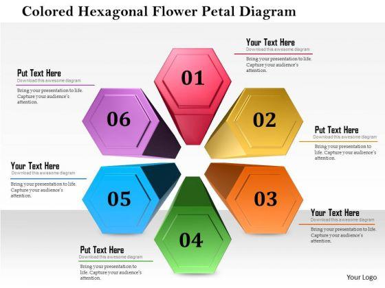 Business Diagram Colored Hexagon Flower Petal Diagram Presentation Template