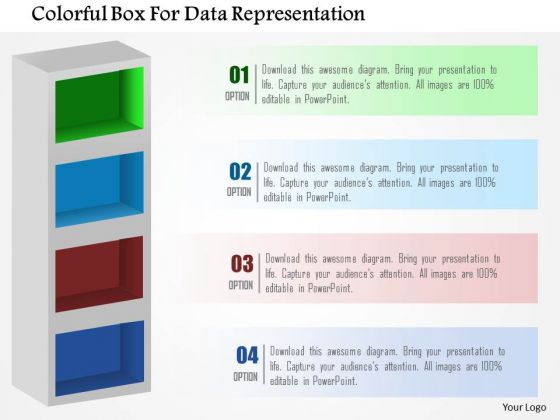 Business Diagram Colorful Box For Data Representation Presentation Template