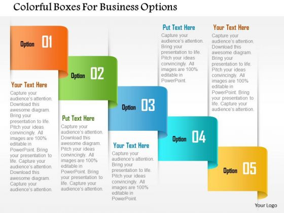 Business Diagram Colorful Boxes For Business Options Presentation Template