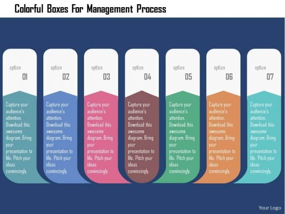 Business Diagram Colorful Boxes For Management Process Presentation Template