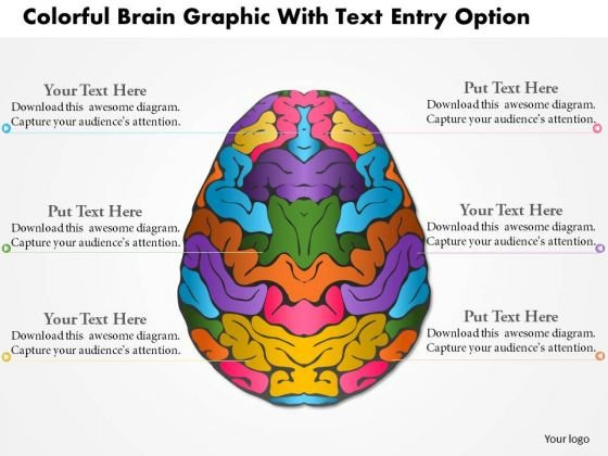Business Diagram Colorful Brain Graphic With Text Entry Option Presentation Template