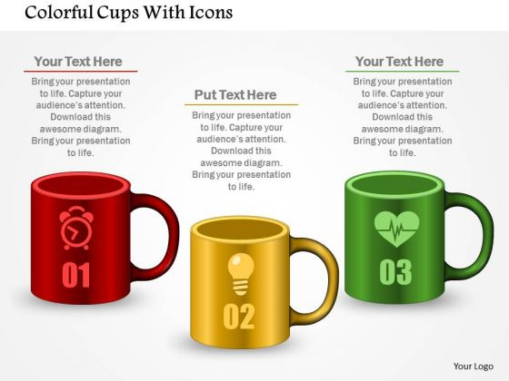 Business Diagram Colorful Cups With Icons Presentation Template