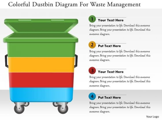 Business Diagram Colorful Dustbin Diagram For Waste Management Presentation Template