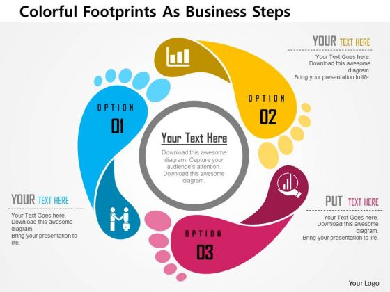 Business Diagram Colorful Footprints As Business Steps Presentation Template
