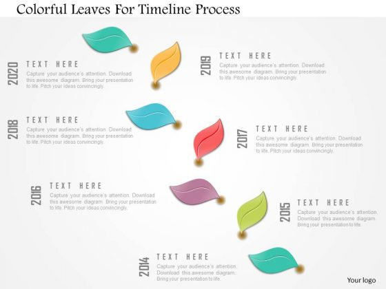 Business Diagram Colorful Leaves For Timeline Process Presentation Template