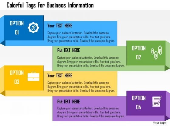 Business Diagram Colorful Tags For Business Information Presentation Template