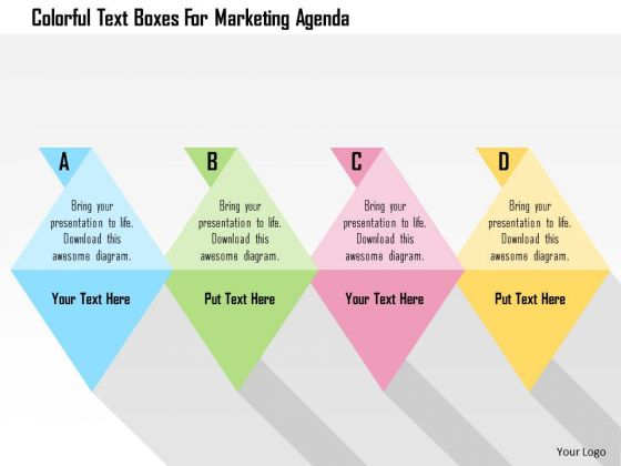 Business Diagram Colorful Text Boxes For Marketing Agenda Presentation Template