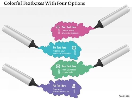 Business Diagram Colorful Textboxes With Four Options Presentation Template