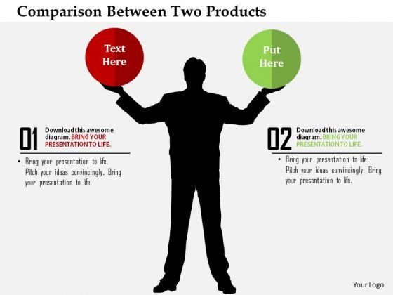 Business Diagram Comparison Between Two Products Presentation Template