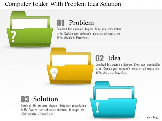 Business Diagram Computer Folder With Problem Idea Solution