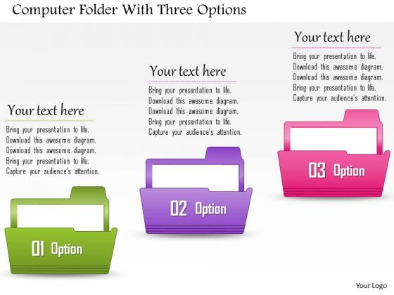 Business Diagram Computer Folder With Three Options Presentation Template