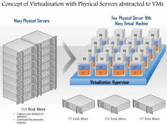 Business Diagram Concept Of Virtualization With Physical Servers Abstracted To Vms Ppt Slide