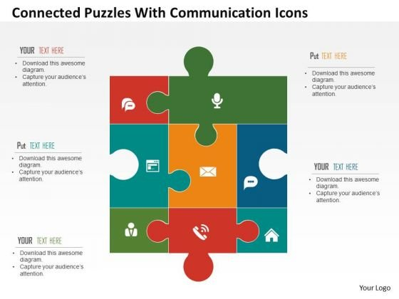 Business Diagram Connected Puzzles With Communication Icons Presentation Template