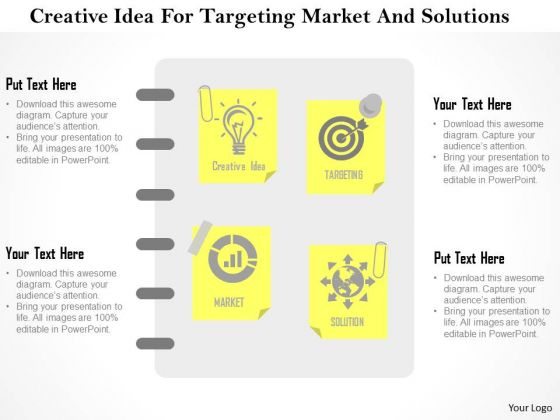 Business Diagram Creative Idea For Targeting Market And Solutions Presentation Template 1