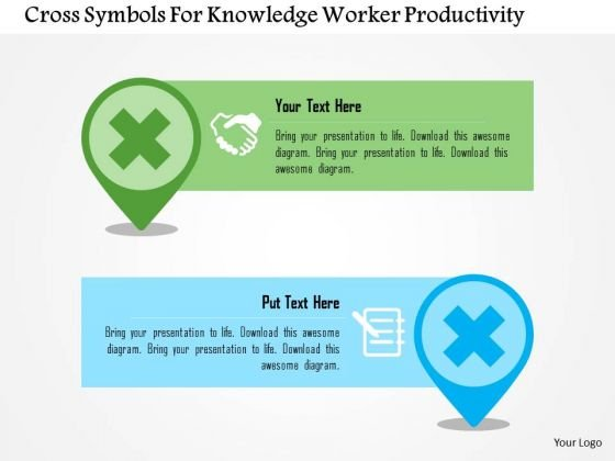 Business Diagram Cross Symbols For Knowledge Worker Productivity Presentation Template
