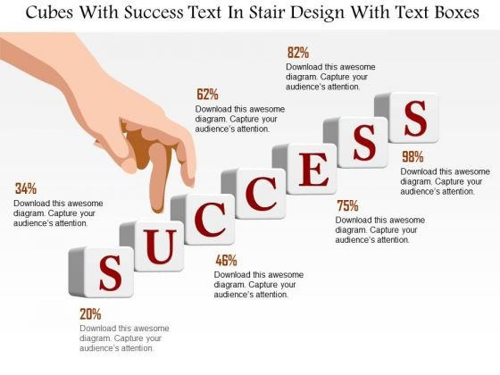 Business Diagram Cubes With Success Text In Stair Design With Text Boxes Presentation Template