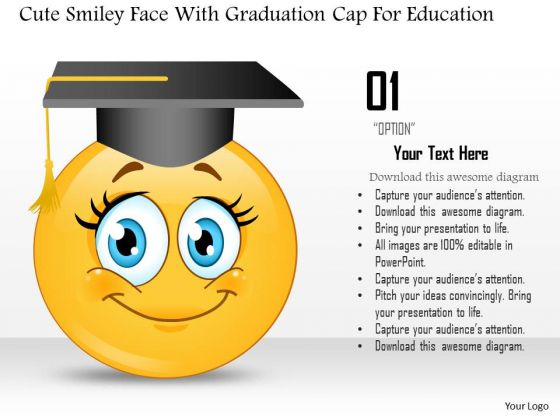 Business Diagram Cute Smiley Face With Graduation Cap For Education Presentation Template