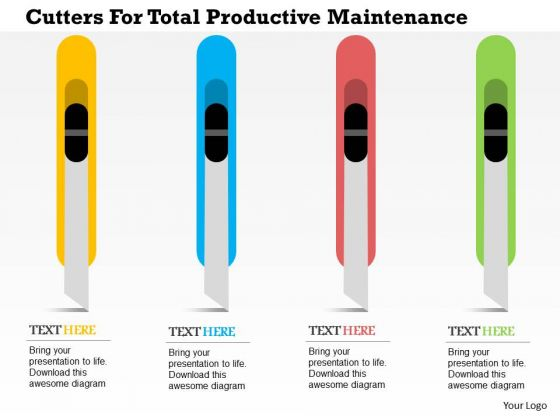 Business Diagram Cutters For Total Productive Maintenance Presentation Template