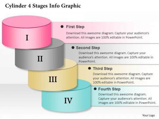 Business Diagram Cylinder 4 Stages Info Graphic Presentation Template