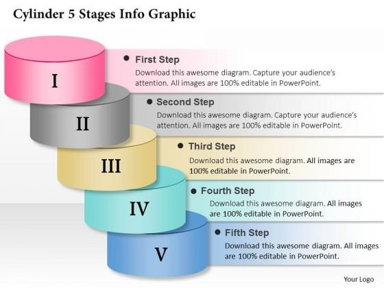 Business Diagram Cylinder 5 Stages Info Graphic Presentation Template
