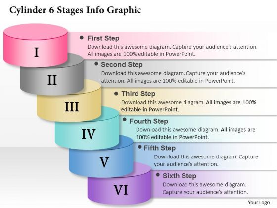Business Diagram Cylinder 6 Stages Info Graphic Presentation Template