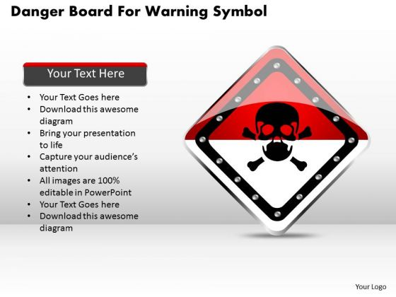 Business Diagram Danger Board For Warning Symbol Presentation Template
