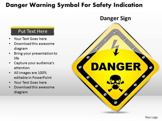 Business Diagram Danger Warning Symbol For Safety Indication Presentation Template
