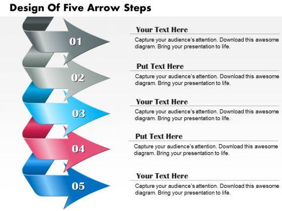 Business Diagram Design Of Five Arrow Steps Presentation Template