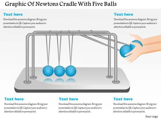 Business Diagram Design Of Newtons Cradle With Five Balls Presentation Template