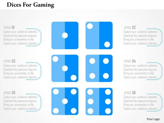 business diagram dices for gaming presentation template, Presentation templates