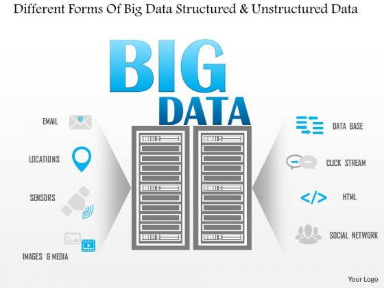 Business Diagram Different Forms Of Big Data Structured And