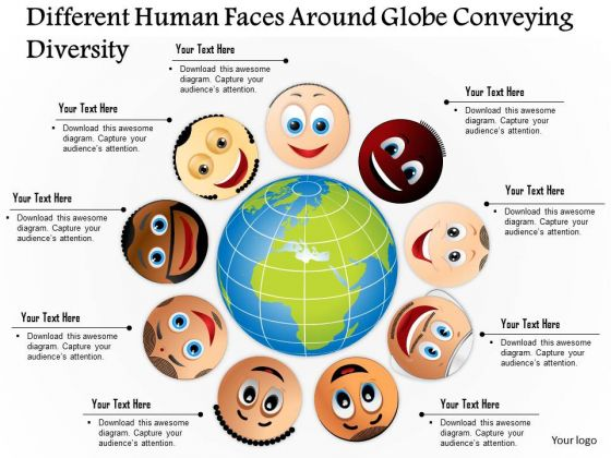 Business Diagram Different Human Faces Around Globe Conveying Diversity Presentation Template